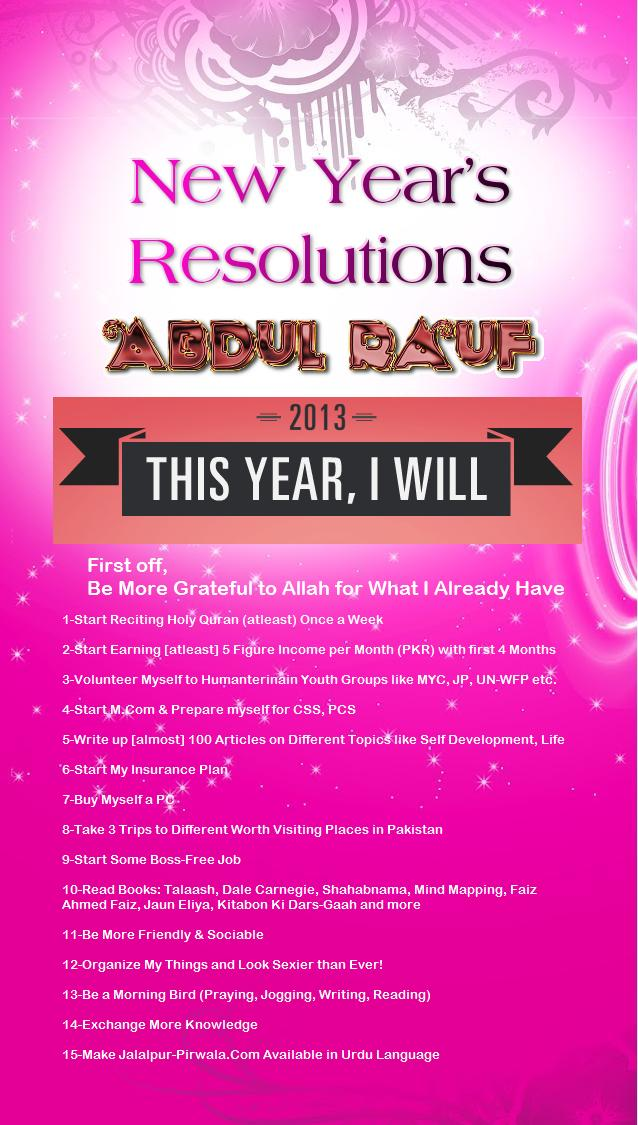 New Year's Resolutions for 2013 (Abdul Rauf)